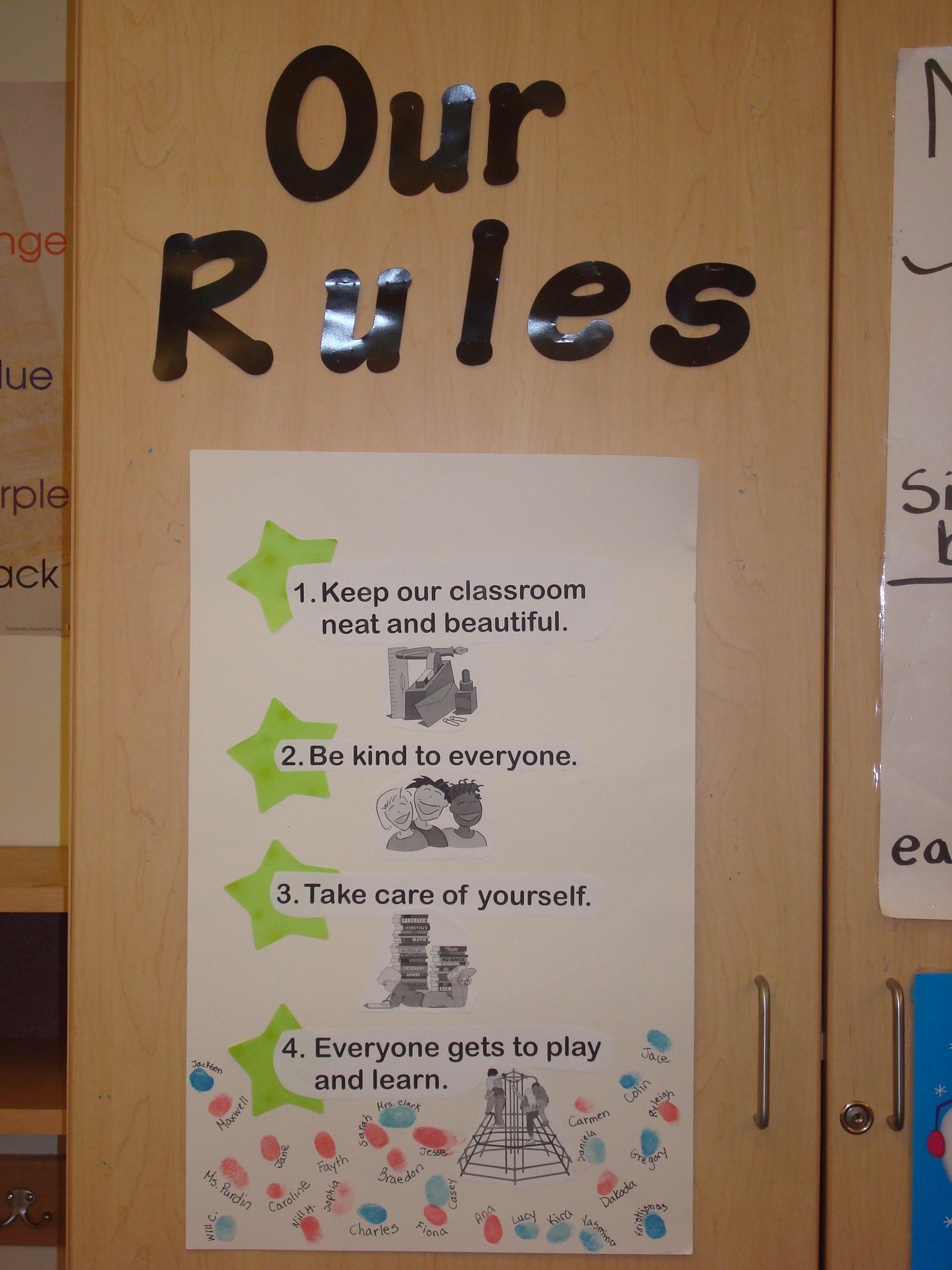 Kindergarten Class: Rules For Kindergarten Classroom